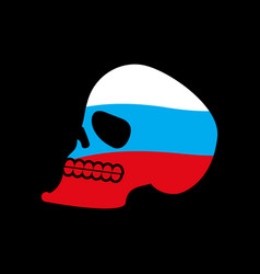 russia skull head of skeleton and russian flag vector image