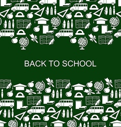 School backg silh green vector