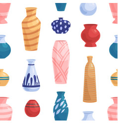 Seamless pattern with ceramic and porcelain vases vector