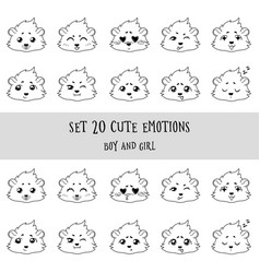 Set of 20 linear funny girl cavy emoticons vector
