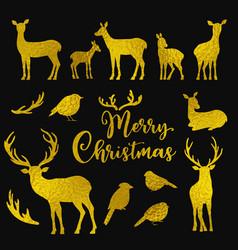 set of golden deers and birds silhouettes vector image