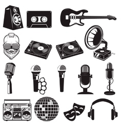 Set of retro party elements Music instruments vector