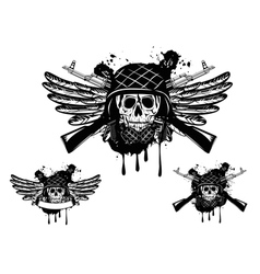 skull in an army helmet vector image