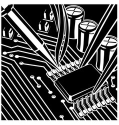 Soldering computer chip on the board vector