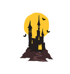 Spooky haunted castle with bats and full moon vector