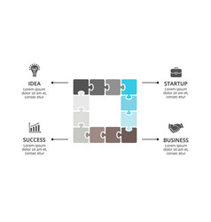 Square puzzle infographic cycle diagram vector