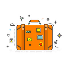 suitcase with stickers liner design vector image