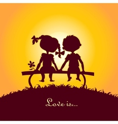 Sunset silhouettes boy and girl vector