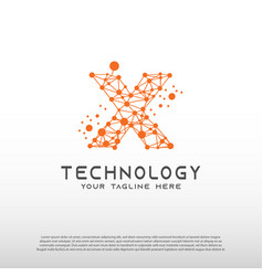 Technology logo with initial x letter network vector