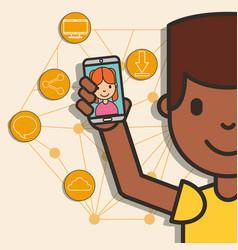 Teen boy holding smartphone girl on screen vector