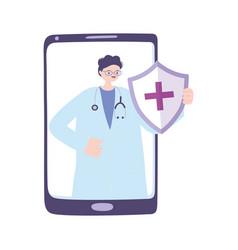 Telemedicine smartphone male doctor medical vector
