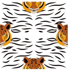 tiger head tiger strips white background vector image