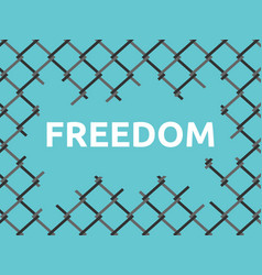 Torn wire mesh freedom vector