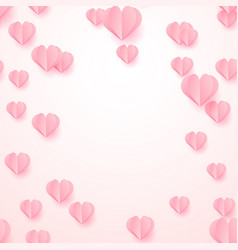valentines day background with paper cut hearts vector image