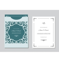 Wedding invitation card and envelope template with vector image