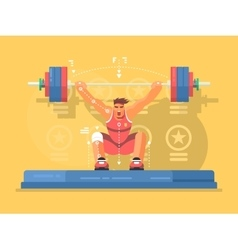 Weightlifting competitions flat design vector image