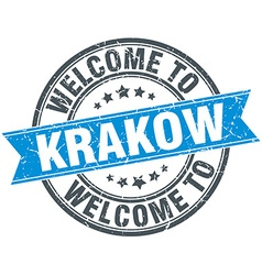 Welcome to Krakow blue round vintage stamp vector