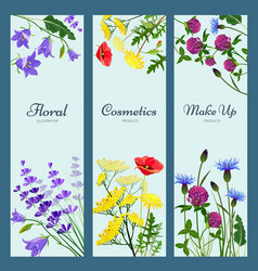 wildflowers banners floral frame with place vector image