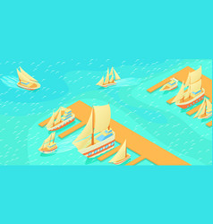 yachts pier horizontal banner cartoon style vector image