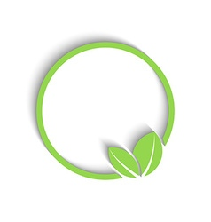 3D round green frame fresh leafs of plant mockup vector image vector image