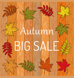 autumn sale poster on wood background vector image vector image