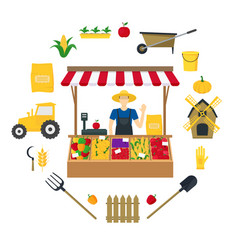 Farmer vegetable seller witch color icons set vector