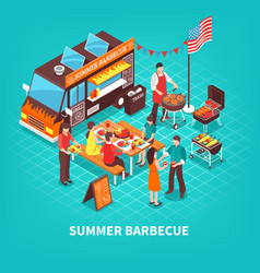 summer barbecue isometric vector image vector image