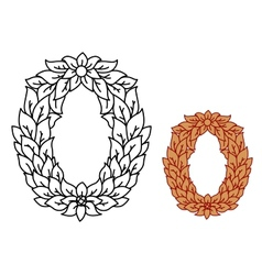 Uppercase alphabet letter O in leaves and flowers vector image vector image