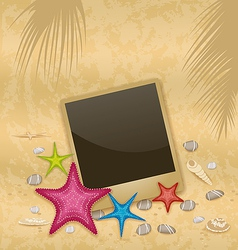 Vintage background with photo frame starfishes vector image vector image