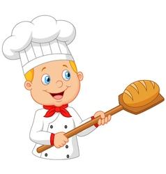 Cartoon baker holding bakery peel tool with bread vector image