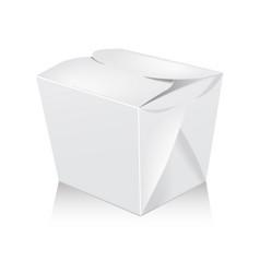 closed white blank wok box mockup 3d vector image vector image