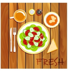 Fresh vegetarian dishes on wooden table vector image vector image