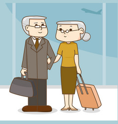 old couple with a suitcase in the airport cartoon vector image vector image