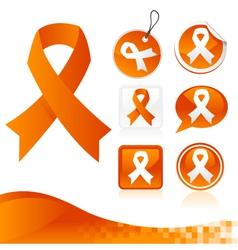 Orange Awareness Ribbons Kit vector image vector image