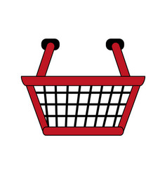 color image cartoon shopping basket with double vector image
