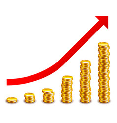 gold coins growth graph isolated on white vector image vector image