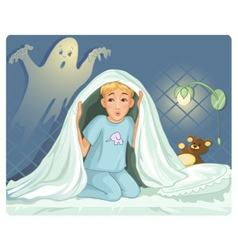 Little boy can not sleep because has fear in the vector image