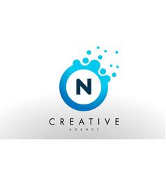 n letter logo blue dots bubble design vector image vector image