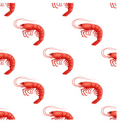 seamless pattrn with flat red shrimp on white vector image vector image