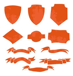 Set of Ribbons and Shields T-shirt graphic vector image vector image