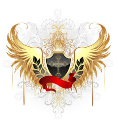 black shield gold cross vector image