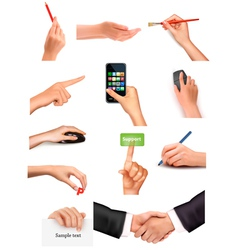 collection of men and women hands vector image vector image