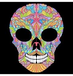 floral skull on black background vector image