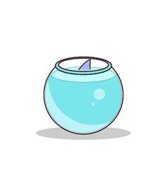 Isolated cartoon cute little shark tank vector image vector image