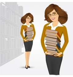 librarian holding stack of books vector image vector image