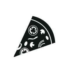 pizza simple black icon on white background vector image