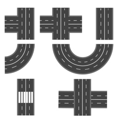 Set of different road highway sections vector image vector image