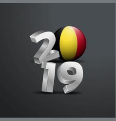 2019 grey typography with belgium flag happy new vector