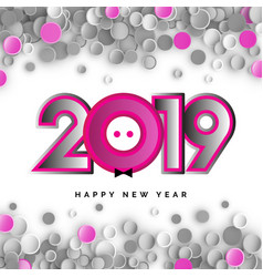 2019 happy new year with piglet vector
