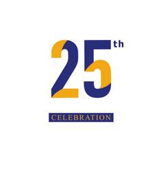 25 th anniversary celebration orange blue vector